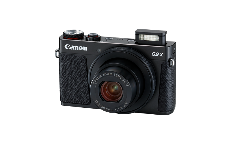 PowerShot G9 X Mark II Black FSL Flash Up