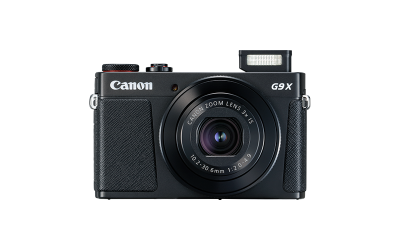 PowerShot G9 X Mark II Black Front Flash Up