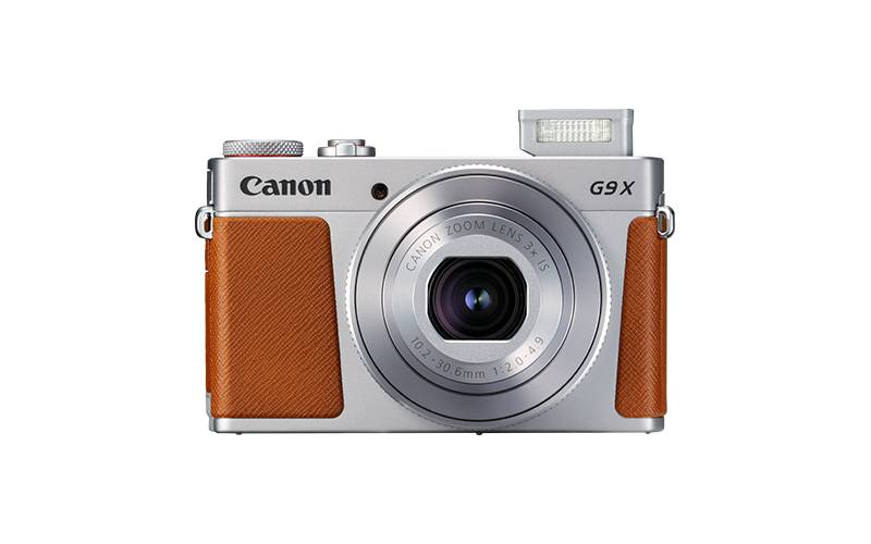 PowerShot G9 X Mark II Silver Front Flash Up