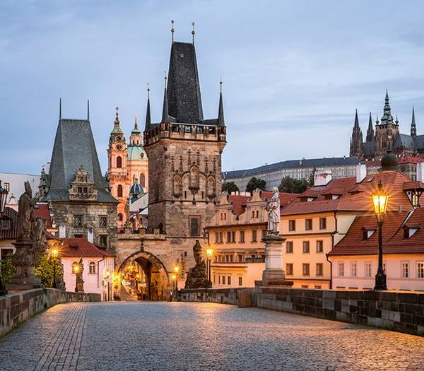Street view of beautuful buildings in Prague city.