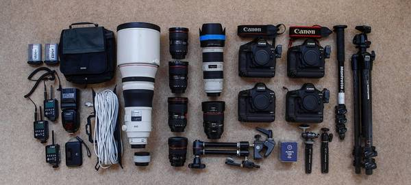Eddie Keogh's kitbag with Canon cameras, lenses and accessories.