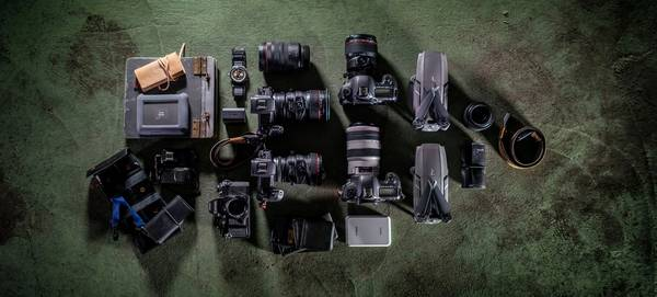 Canon Ambassador Fernando Guerra's kitbag containing Canon cameras, lenses and accessories.