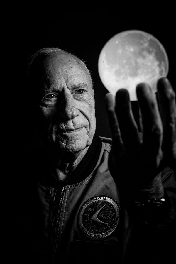 A black-and-white portrait of American astronaut Al Worden by Canon Ambassador Clive Booth.