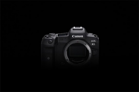 A Canon EOS R5 full-frame mirrorless camera.