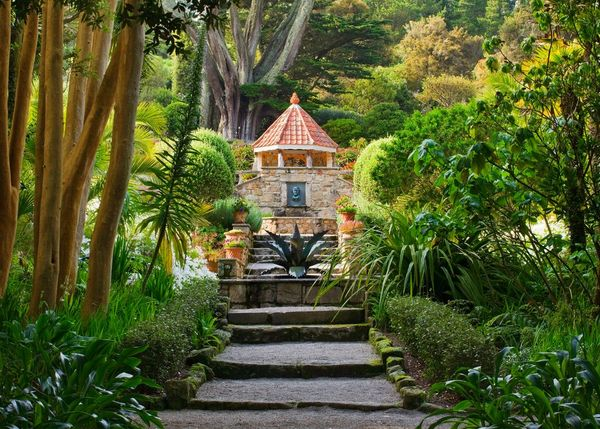 Stairs leading up to the shell house at Tresco Abbey Garden on Tresco in the Isles of Scilly. Taken by garden photographer Clive Nichols.