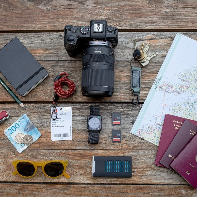 RF 24-240MM travel flatlay
