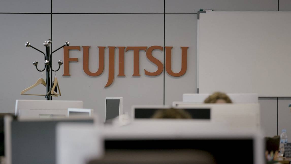 Fujitsu sign in an office