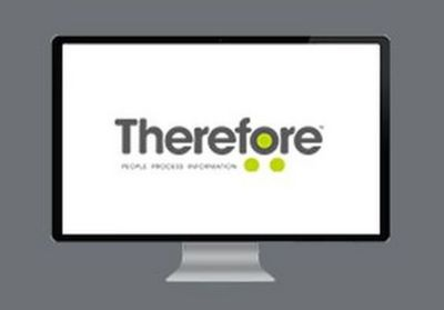 Computer screen with white background and 'Therefore' logo in grey lettering with three bright green dots in and around the letter O.