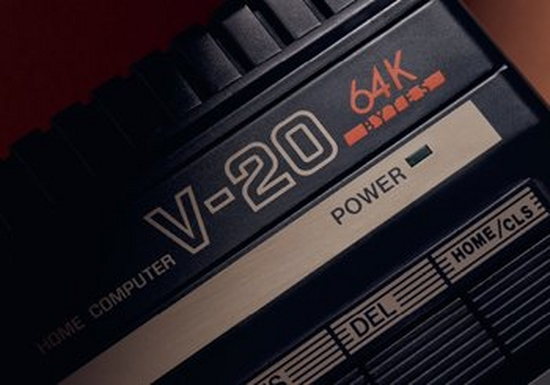 A close up of the Canon V-20 home computer, showing the text 'HOME COMPUTER V-20 65K', the power indicator and F keys. Image courtesy of Thames and Hudson