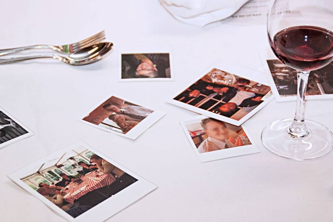 Photographs on a table