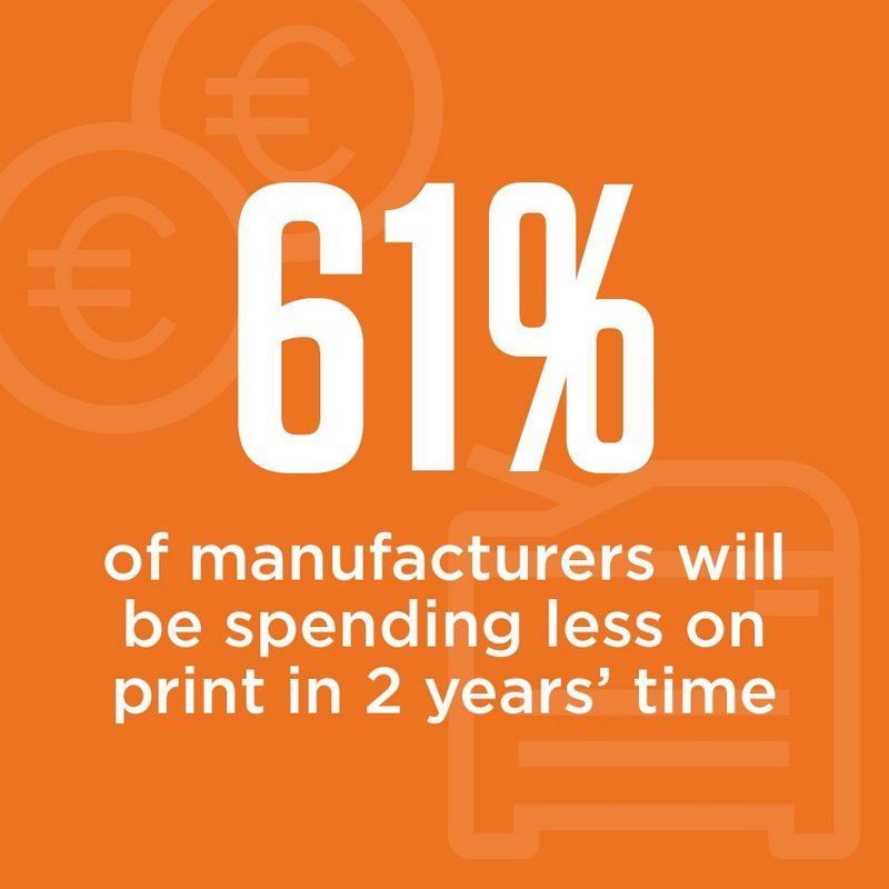 info graphic 61% of manufacturers will be spending less on print in 2 years' time