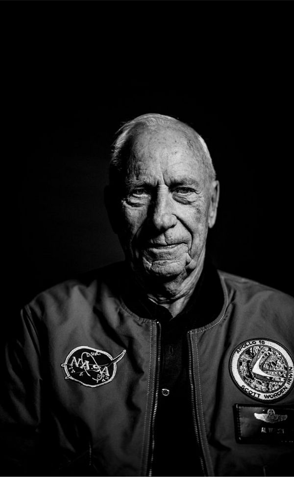 A black and white shot of Apollo 15 Command Module Pilot, Al Worden.