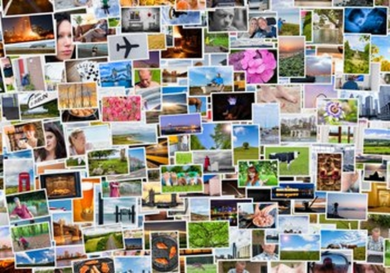 A collage of colourful photographs, including pictures of people, places, landscapes, flowers and objects.