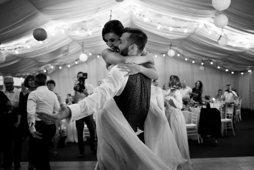 Behind the scenes at Romanian wedding - Bride and Groom Dancing B&W Image - taken with a EOS 5D Mark IV