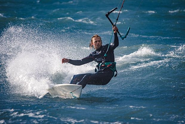 close shot of kitesurfer