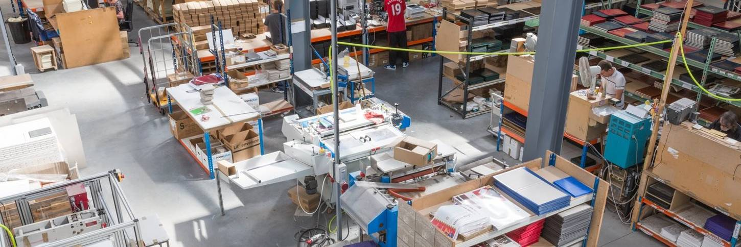 Birds eye view of book printing services warehouse