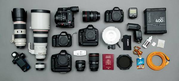 Jaime de Diego's kitbag containing Canon cameras and lenses.