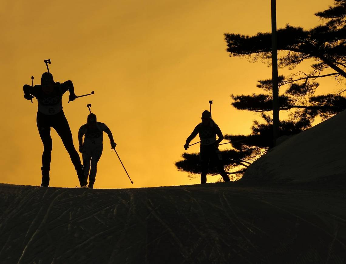 Skiers prepare for the women's 15km individual biathlon in Pyeongchang, South Korea, taken by Canon Ambassador Andrei Golovanov on a Canon EOS-1D X Mark II.