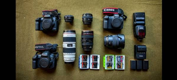 Canon Ambassador Georgina Goodwin's kitbag containing Canon cameras and lenses.