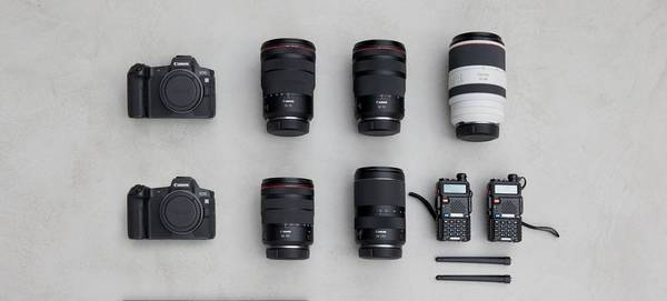 An array of Canon cameras and lenses - the contents of Canon Ambassador Martin Bissig's kitbag.