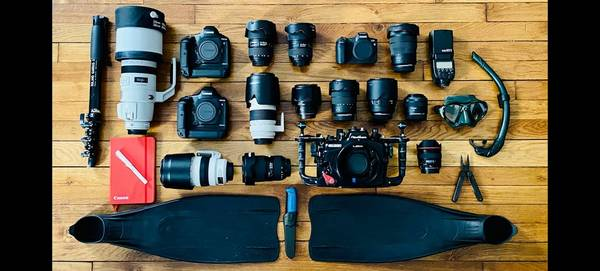 Canon Ambassador Franck Seguin's kitbag, containing his Canon cameras and diving kit.