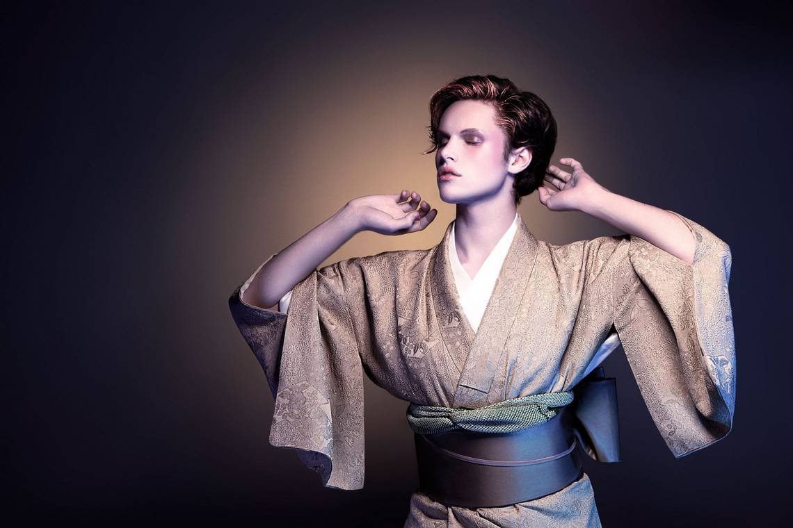 A male model wears a Japanese silk kimono. Taken on a Canon EOS 5D Mark II by Canon Ambassador Quentin Caffier.