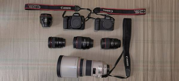 Muhammed Muheisen's kitbag, containing Canon cameras and lenses.