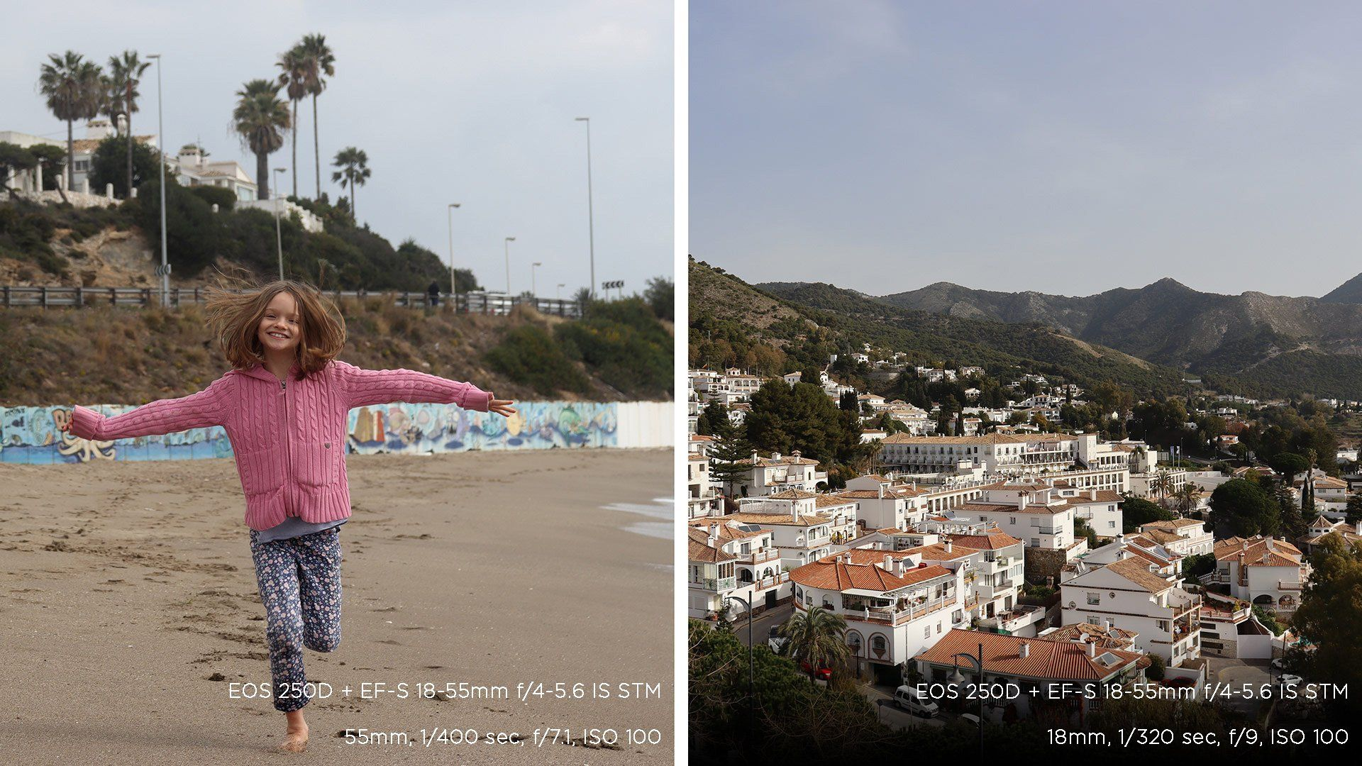 A composite picture: a girl runs towards us on a sandy beach in one; a view of a mountaintop village in the other. Photos taken on a Canon EOS 250D.
