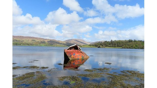 A rusty red boat sits in the middle of a lake on a sunny day
