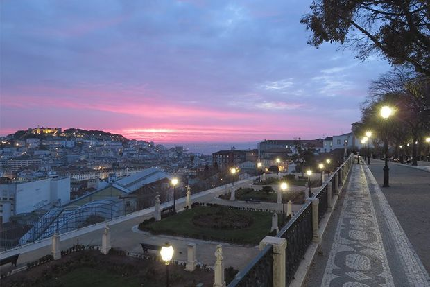 A view over a hilly city at sunset, with a straight path at the right, garden beds in the centre and a distant hill covered in buildings at the left.