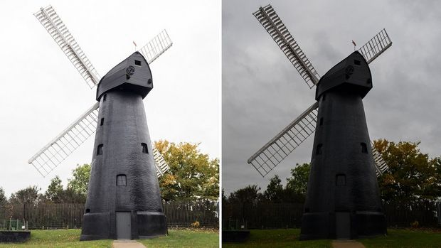A brighter version of the main windmill picture on the left, a darker version on the right.