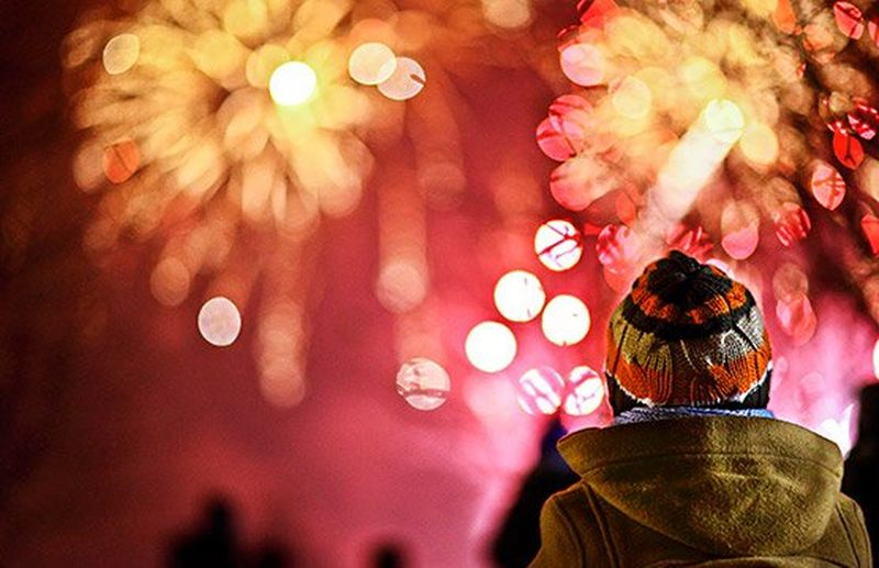 The back of a boy's head as he watches pink and golden fireworks burst in front of him.