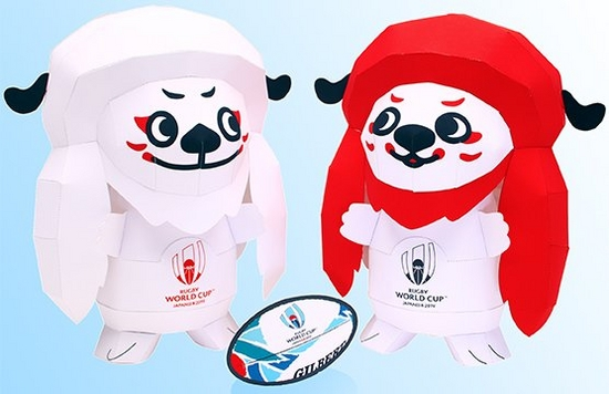 Two lion-like Rugby World Cup 2019 mascots made out of paper.