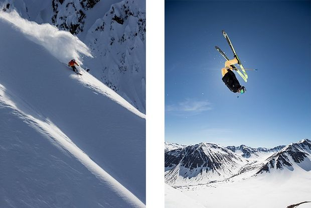 A split image shows a skier descending down a steep slope on one side, and another skier performing a somersault on the other.