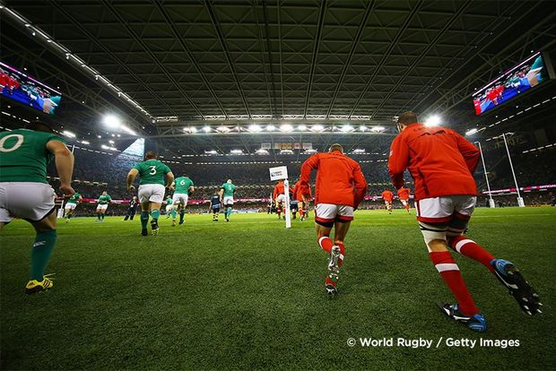 Players pictured running past the camera onto the field for the match between Ireland and Canada in the 2015 Rugby World Cup. Photo by Richard Heathcote.
