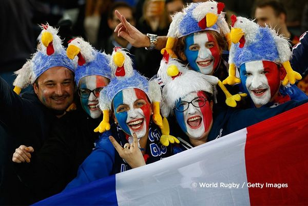 French fans in colourful makeup during the 2015 Rugby World Cup. Photo by Chris Lee.