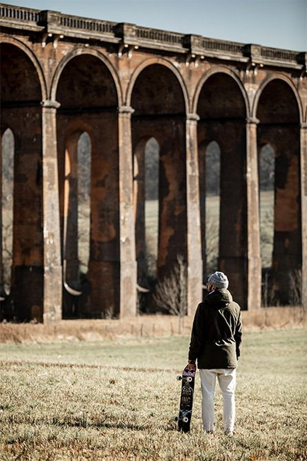 Skateboarder Vladik Scholz looks up at Balcombe viaduct.