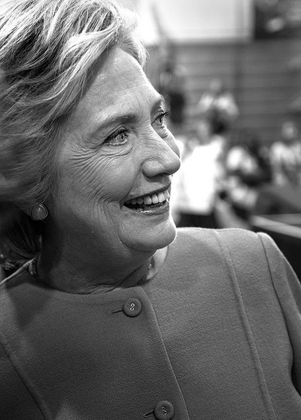 A shot of Hillary Clinton as she greets members of a crowd at a Florida rally.