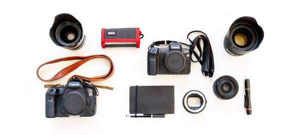Contents of photographer Daniel Etter's kitbag, including Canon EOS R, 5D Mark IV & lenses
