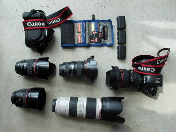 Canon Ambassador Ilvy Njiokiktjien's kitbag, containing two Canon cameras, photographic accessories and a notebook.