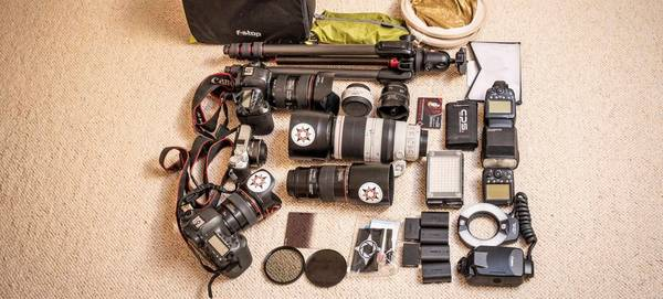 Canon Ambassador Ulla Lohmann's kitbag, containing Canon cameras, lenses and accessories.