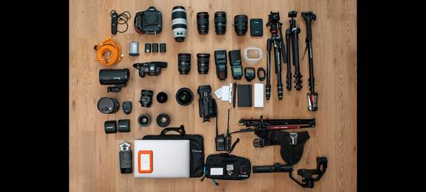 Katya Mukhina's kitbag containing Canon cameras and lenses.