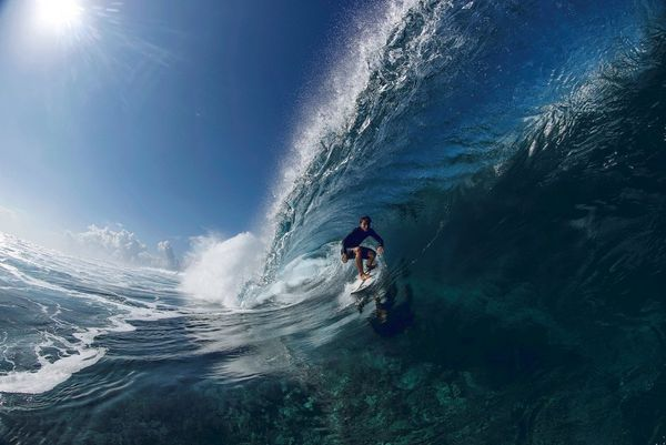 An animated gif shows a surfer travelling inside the barrel of a wave. Taken by Ben Thouard on a Canon EOS-1D X Mark III.