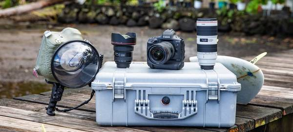 Ben Thouard's kitbag with a Canon EOS-1D X Mark III, lenses and an underwater housing.