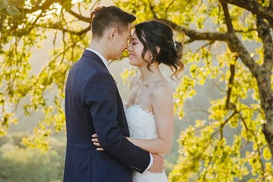 A bride and groom stand close together, faces touching, in front of a tree full of yellow blossoms.