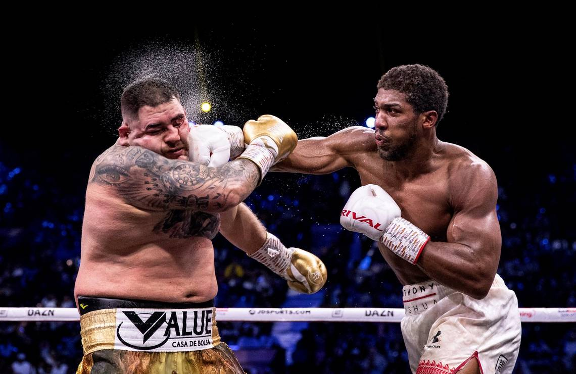 Anthony Joshua lands a punch in his rematch against Andy Ruiz Jr. Photo by Richard Heathcote