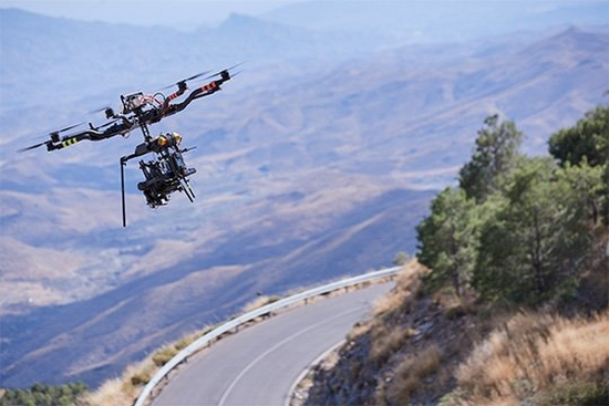 A drone holding the Canon EOS C500 Mark II soars over the Spanish countryside capturing aerial shots of the Jaguar F-PACE.