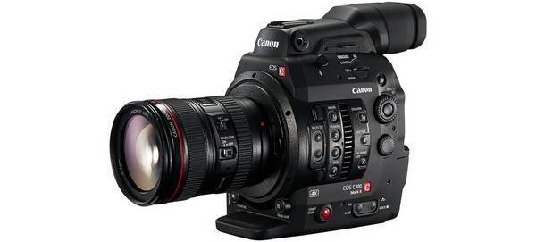 A Canon EOS C300 Mark II cine camera with a Canon EF 24-105mm f/4L IS II USM lens.