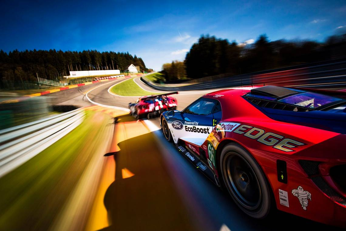 Two Ford GT cars racing around the Spa-Francorchamps circuit. Taken by Drew Gibson.