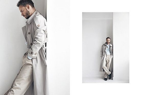 A male model wears a white coat and stands against a white wall in two shots by fashion photographer Jaroslav Monchak. Shot on a Canon EOS 5DS R with Canon EF 24-70mm f/2.8L II USM lens.